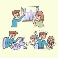 team work cute cartoon illustration working people success illustration concept