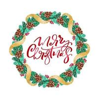 Realistic Christmas vector wreath with red berries on evergreen branches and text Merry Christmas. Isolated xmas illustration for greeting card