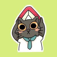 cat kitten happy back to school study drawing illustration