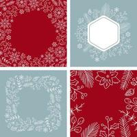 Set of Christmas snowflakes wreath with place for your text. Greeting card design with xmas elements. Modern winter season postcard, brochure, banner vector