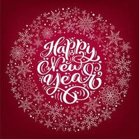 Happy New Year vector scandinavian calligraphic vintage text. Christmas Winter Wreath with snowflakes on red background. Greeting card element Illustration