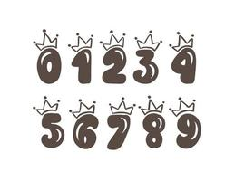 Vector Vintage Plump Set numbers with crown. Princess element font logo. Valentine hand drawn alphabet signs for page decoration and design illustration. For greeting card, wedding or invitation