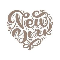 New york city calligraphy text in form of heart. NY logo isolated. NYC label or logotype. Vintage badge in scandinavian style. Great for t-shirts or poster vector