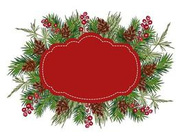 Christmas vector greeting card frame with place for your text. Realistic Looking Tree Branches Decorated with Berries and Cones