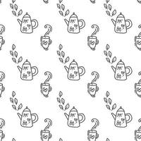 Seamless pattern with teapot in black. Perfect for wallpaper, gift paper, pattern fills, web page background, autumn greeting card, pillow vector
