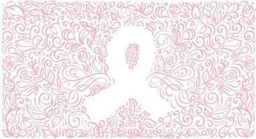 Stylized pink vector banner ribbon of Breast Canser for October is Cancer Awareness Month. Calligraphy illustration on pink flourish background