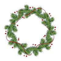 New year and Christmas wreath. winter garland with red holly berries on green branches, isolated on white background. Greeting card. Happy xmas vector retro holiday design