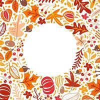 Fondo de marco de borde de hojas de otoño, bayas y calabazas con texto espacial. arce floral estacional roble hojas de naranja para el día de acción de gracias