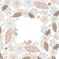 Autumn leaves, berries and flowers border frame background with space text. Seasonal floral maple oak tree orange leaves for Thanksgiving Day vector