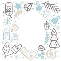 Christmas background frame with xmas gifts, caps, hats and other elements. Vector template for greeting card with place for text. Winter frame isolated