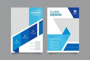Modern blue corporate flyer with abstract design vector