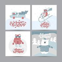 Set of vector Cute Christmas Greeting Cards. Vintage calligraphy handwritten texts. Banner scandinavian doodle illustration. Xmas isolated objects
