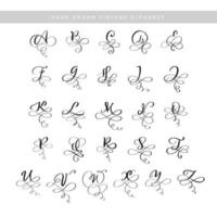 Vector Hand Drawn calligraphic flourish letters monogram or logo. Uppercase Hand Lettering alphabet with swirls and curls. Wedding Floral Design