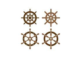conjunto de diseño de icono de rueda de timón vector