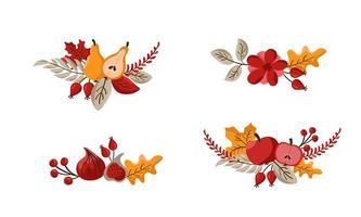 conjunto de plantilla de diseño de guirnalda otoñal de ramo de vector impresa con algodón de flores, hojas, frutas y bayas. Ilustración de fondo de cosecha de octubre para el feliz día de acción de gracias. caída de la naturaleza