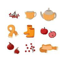 Vector autumn cute set. Hand drawn fall elements berries, scarf, teapot, cup and fruits. Autumn clip art for web card poster cover tag invitation sticker illustration