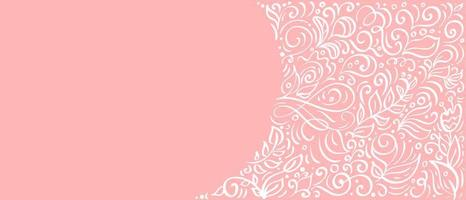 Vintage calligraphy leaves on pink background. Vector flourish elements with flowers banner for Valentines Day, wedding, birthday, greeting card with copy space for your text