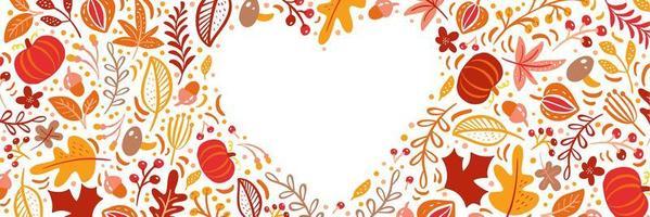 hojas de otoño, frutas, bayas y calabazas bordean el fondo del marco del corazón con texto espacial. arce floral estacional roble hojas de naranja para el día de acción de gracias