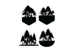 vector de plantilla de diseño de icono de bosque de pinos aislado