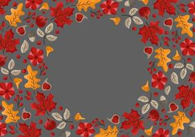 Autumn leaves, fruits, berries and pumpkins border frame background with space text. Seasonal floral maple oak tree orange leaves for Thanksgiving Day vector