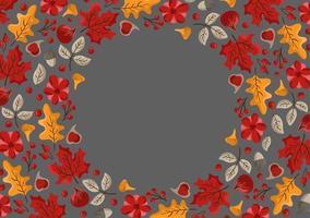 Fondo de marco de borde de hojas de otoño, frutas, bayas y calabazas con texto espacial. arce floral estacional roble hojas de naranja para el día de acción de gracias vector