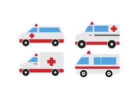 conjunto de diseño de icono de ambulancia vector