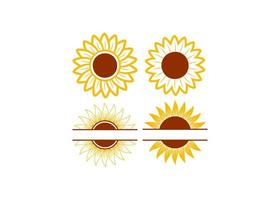 Sunflower icon design set vector