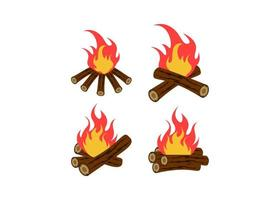 Bonfire icon design set vector
