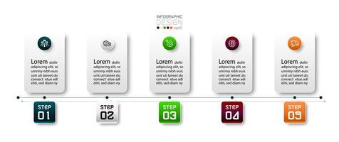 5 steps in the presentation to explain the work process in square shape design. vector infographic.