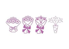 Bouquet icon design template set vector