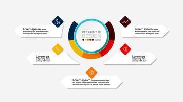 Los diagramas de círculo de diseño se pueden utilizar para describir organizaciones, estudios o presentaciones. infografía. vector