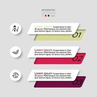 The 3 steps of the squares are used to present ideas and showcase the work. vector infographic.