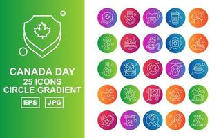 25 Premium Canada day Circle Gradient Icon Pack vector