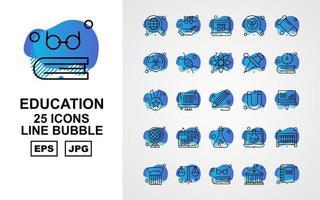 25 Premium Education Line Bubble Icon Pack vector
