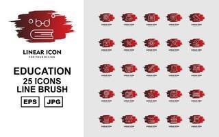 25 Premium Education Line Brush Icon Pack