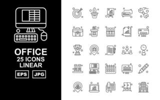 25 Premium Office II Linear Icon Pack vector
