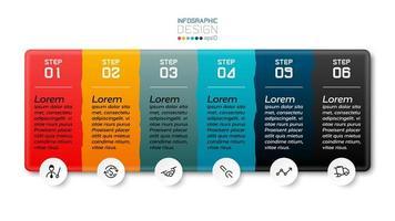 Se pueden usar 6 pasos para un diseño de caja cuadrada para hacer folletos, comunicarse y presentaciones. infografía vectorial.