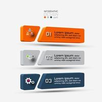 A three-dimensional square with three steps for planning presentations. vector illustration.