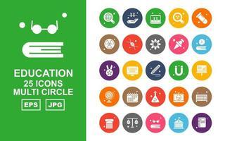 25 Premium Education Multi Circle Icon Pack