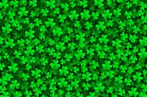 Green color shamrock 3d pattern vector