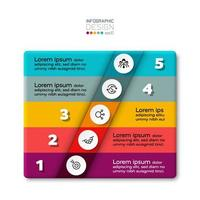 5 steps of a new type of rectangular box in a structured presentation. vector infographic.