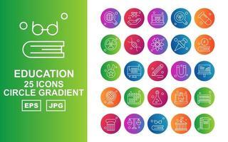 25 Premium Education Circle Gradient Icon Pack