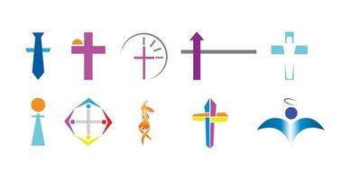conjunto de diez logotipos cristianos vector