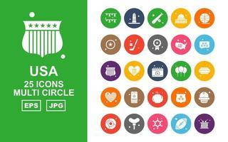 25 Premium USA Multi Circle Icon Pack vector