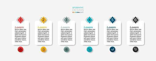 Se puede utilizar un cuadro de texto rectangular con 6 pasos para mostrar los resultados y explicar los procesos. infografía. vector