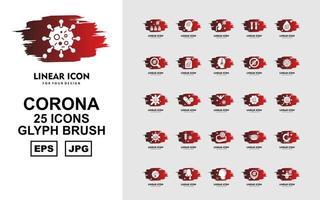 25 Premium Corona Virus Glyph Brush Icon Pack vector