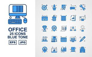 25 Premium Office II Blue Tone Icon Pack vector