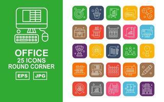 25 Premium Office II Round Corner Icon Pack vector
