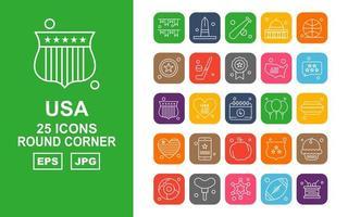 25 Premium USA Round Corner Icon Pack vector