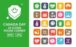 25 Premium Canada day Round Corner Icon Pack vector
